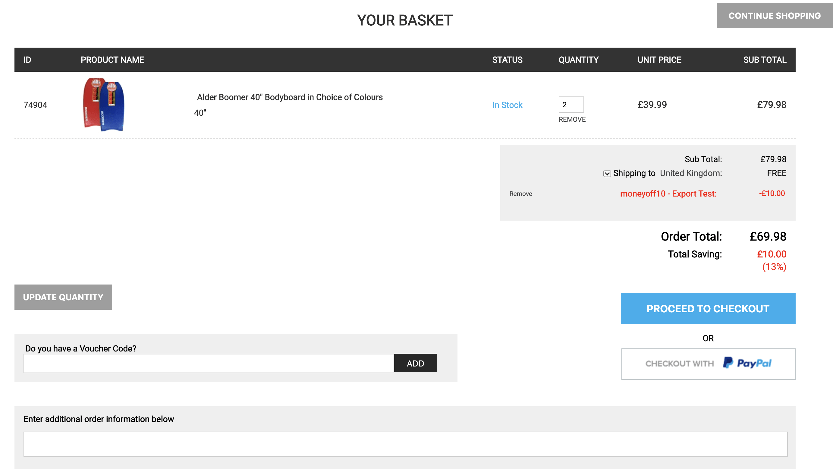 Basket - Promo Code Applied