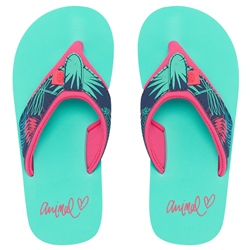 Animal Swish Upper AOP Flip Flops - Turquoise Green