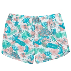 Animal Summer Leaf Shorts - White