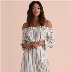 Billabong Tulum Weathers Off-Shoulder Blouse Top - Yarn Dye Stripes
