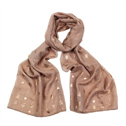 F & J Collection Foil Arrow Scarf - Pink