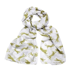 F & J Collection Leopard Scarf - White