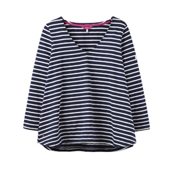 Joules Harbour V T-Shirt - Navy & Cream