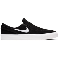 Nike SB Zoom Stefan Janoski Slip On Shoes - Black & White