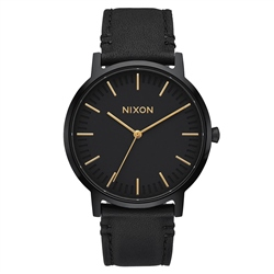Nixon Porter Leather Watch - Black & Gold