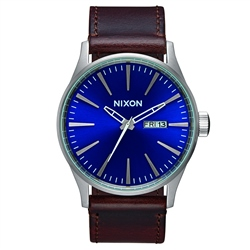 Nixon Sentry Leather Watch - Blue