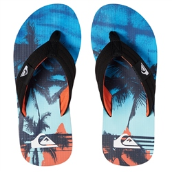 Quiksilver Molokai Layback Flip Flops - Black & Orange