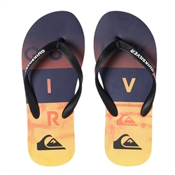 Quiksilver Molokai Wordblock Flip Flops - Black & Orange