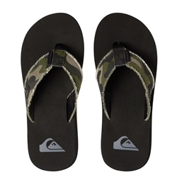 Quiksilver Monkey Abyss Flip Flops - Green & Brown