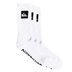 Quiksilver 3 Pack Crew Socks  - White
