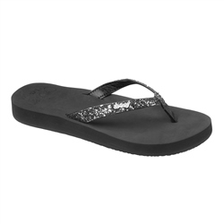 Reef Star Cushion Flip Flops - Black & Gun