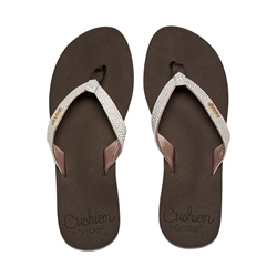 Reef Star Cushion Sass Flip Flops - Brown & White