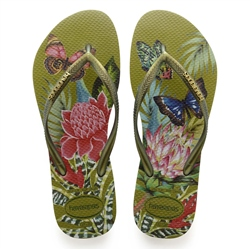 Havaianas Slim Tropical Flip Flops - Camo Green