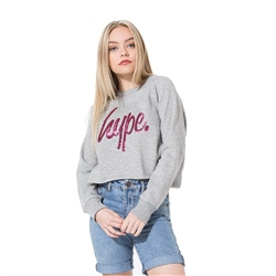 Hype Sequin Sweatshirt - Grey & Pink