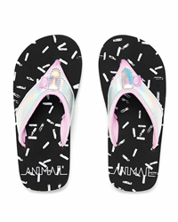 Animal Swish Glitz Flip Flops - Black