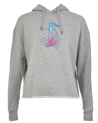Born by the Sea Womens Crop Hoody - Heather Grey