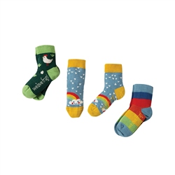 Frugi Little 3 Pack Socks - Chick