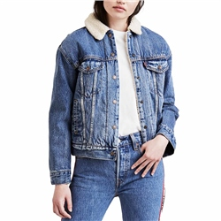 Levi's ExBf Addicted to Love Trucker Jacket - Blue & White