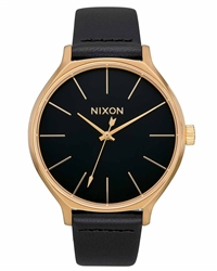 Nixon Clique Leather 3 Watch - Gold & Black
