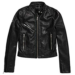 Superdry Malibu Leather Jacket - Black