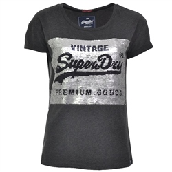 Superdry Sequin Slim T-Shirt - Charcoal
