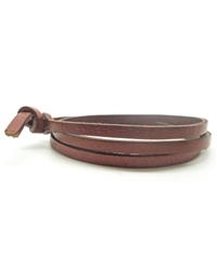 Nalu Beads Brown Leather Wrap - Brown