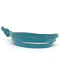 Nalu Beads Teal Leather Wrap - Teal