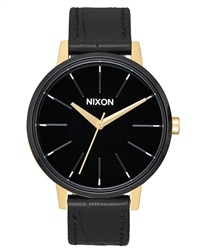 Nixon Kensington Leather 2 Watch - Gold & Black
