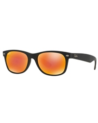 Ray-Ban New Wayfarer Sunglasses - Rubber Black / Brown Mirror Red