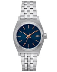 Nixon Med Time Teller Watch - Navy & Rose Gold