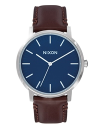 Nixon Porter Leather Watch - Navy & Brown