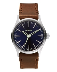 Nixon Sentry 38 Leather Watch - Blue & Brown