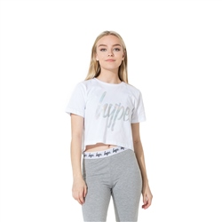 Hype Iridescent Script Crop T-Shirt - White