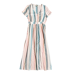 Roxy Furore Lagoon Stripe Dress - White