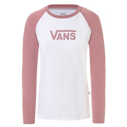 Vans Flying V Classic Raglan T-Shirt - White & Rose
