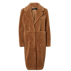 Vero Moda Holly Long Teddy Jacket - Tobacco Brown