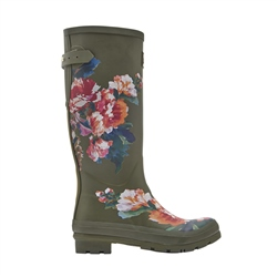 Joules Print Wellington Boots - Green Rose