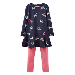 Joules Iona Jersey Dress Set - Navy Horses