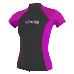 O'Neill Girls Skins Turtle Rash Vest - Black & Purple