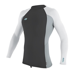 O'Neill Mens Skins Rash Vest - Black, Grey & White