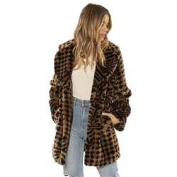 Amuse Society Vera Faux Fur Coat - Black