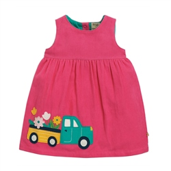 Frugi Lily Cord Dress - Flamingo