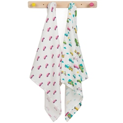 Frugi Lovely 2 Pack Muslins - Vehicle