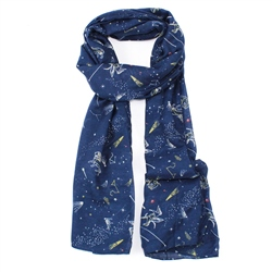 F & J Collection Zodiac Scarf - Navy