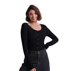Superdry Button Top - Black