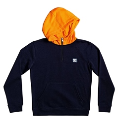 DC Shoes Boys Rebel 1/2 Zipped Hoody - Indigo & Orange