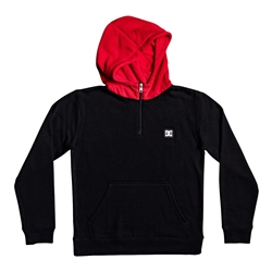 DC Shoes Rebel 1/2 Zipped Hoody - Black & Racing Red
