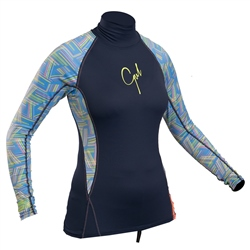 Gul Swami Ladies Long Sleeved Rash Vest - Navy Lines