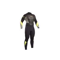Gul Response Back Zip 4/3mm Wetsuit - Black & Lime (2019)