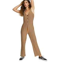 RVCA Carlton Striped Jumpsuit - Cathay Spice